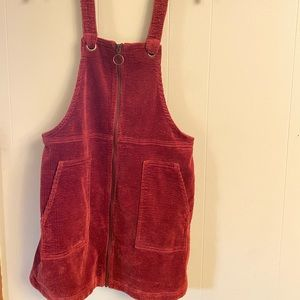 Corduroy overall dress- red